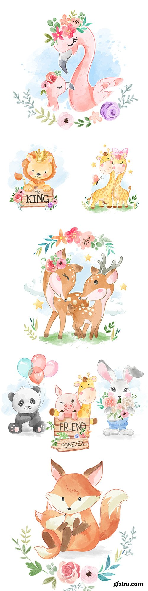 Funny animals drawing cartoon watercolor illustrations 26