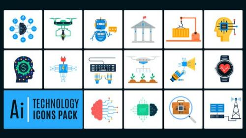 Videohive - 16 Technology Icons Pack