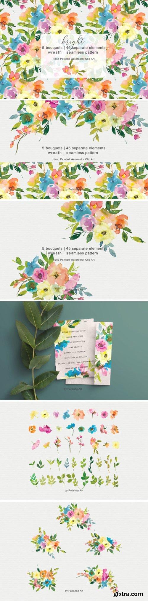 Colorful Watercolor Floral Clip Art 3008278