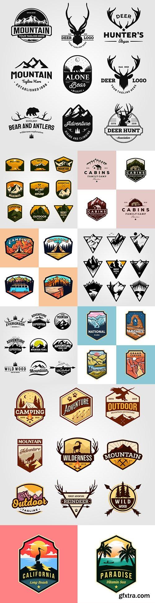 Camping and hunting emblems vintage design