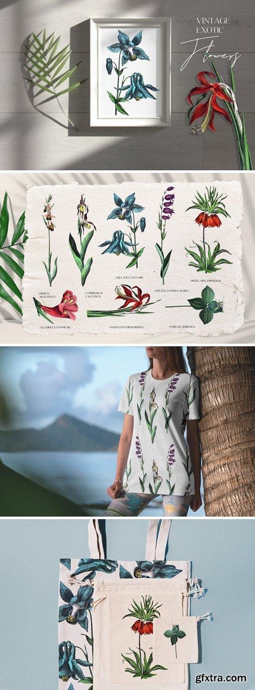 Vintage exotic flowers - botanical set