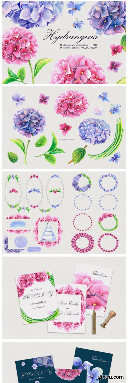 Watercolor Hydrangeas Clip Art Set 3012156