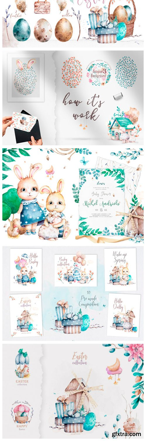 Happy Easter Spring Watercolor Set 3011547
