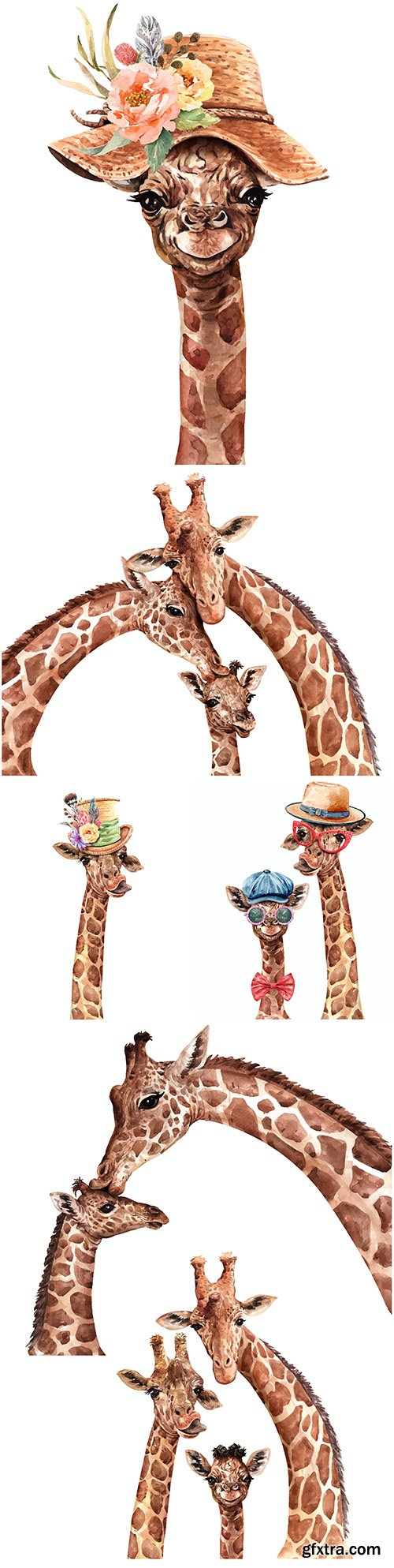 Giraffe in hat with flower and family watercolor illustration