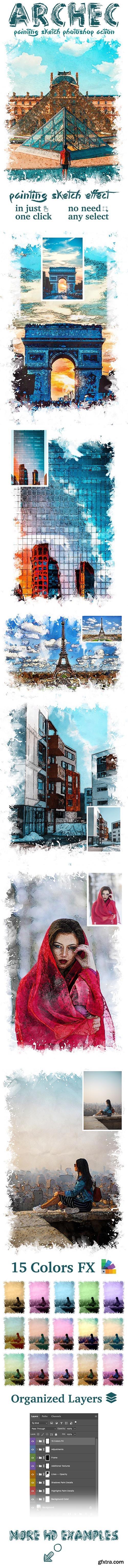 GraphicRiver - Archec - Painting Sketch Photoshop Action 25624369