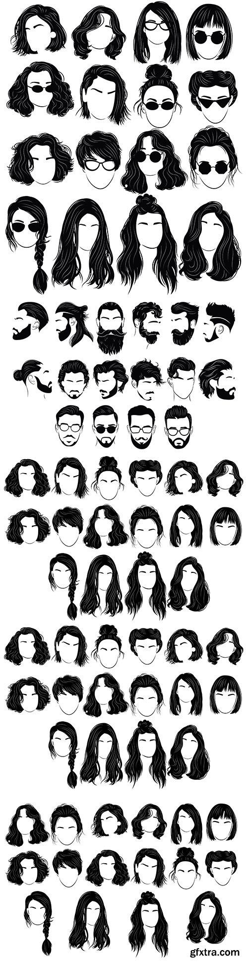 Female and male hairstyle design silhouettes