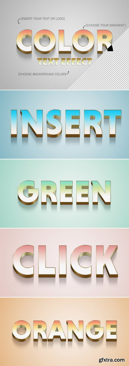 Gradient 3D Text Effect with Gold Stroke Element 322108193