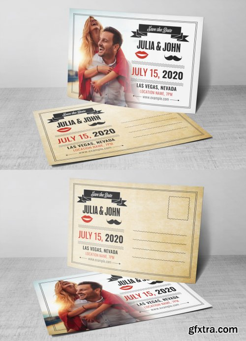 Wedding Postcard Layout with Red and Gray Accents 322804146