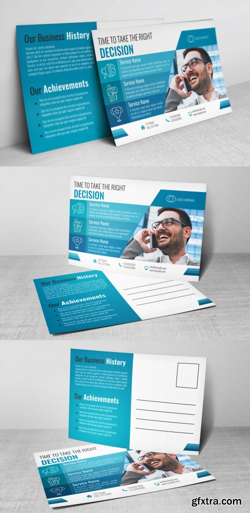 Business Postcard Layout with Blue Accents 322804137