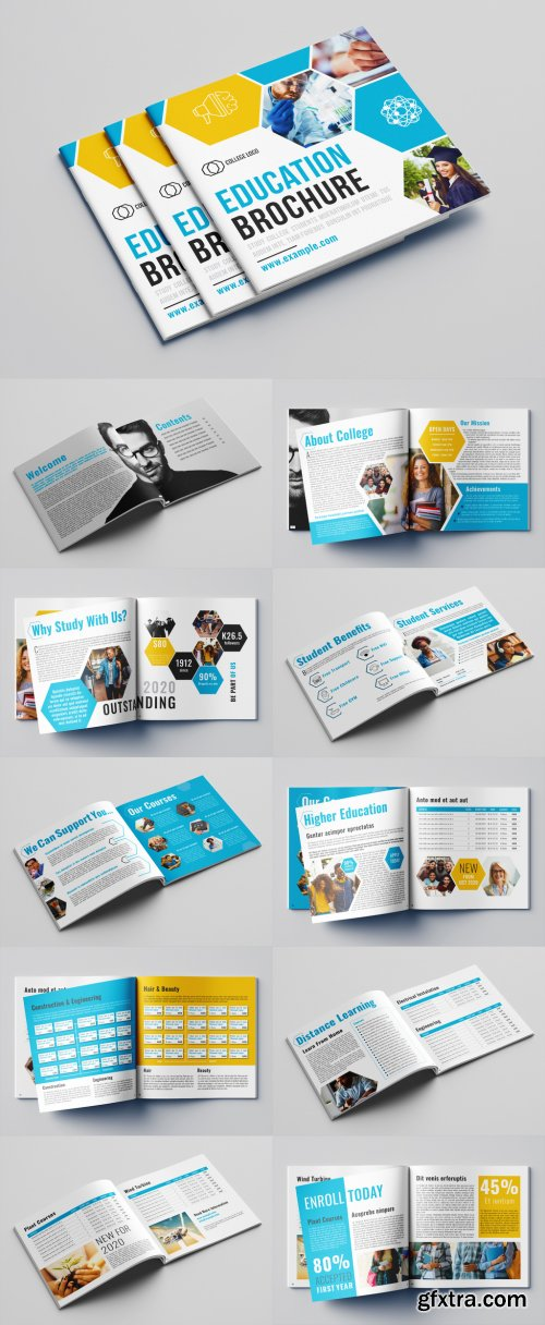 Education Brochure Layout with Blue and Orange Accents 322804129