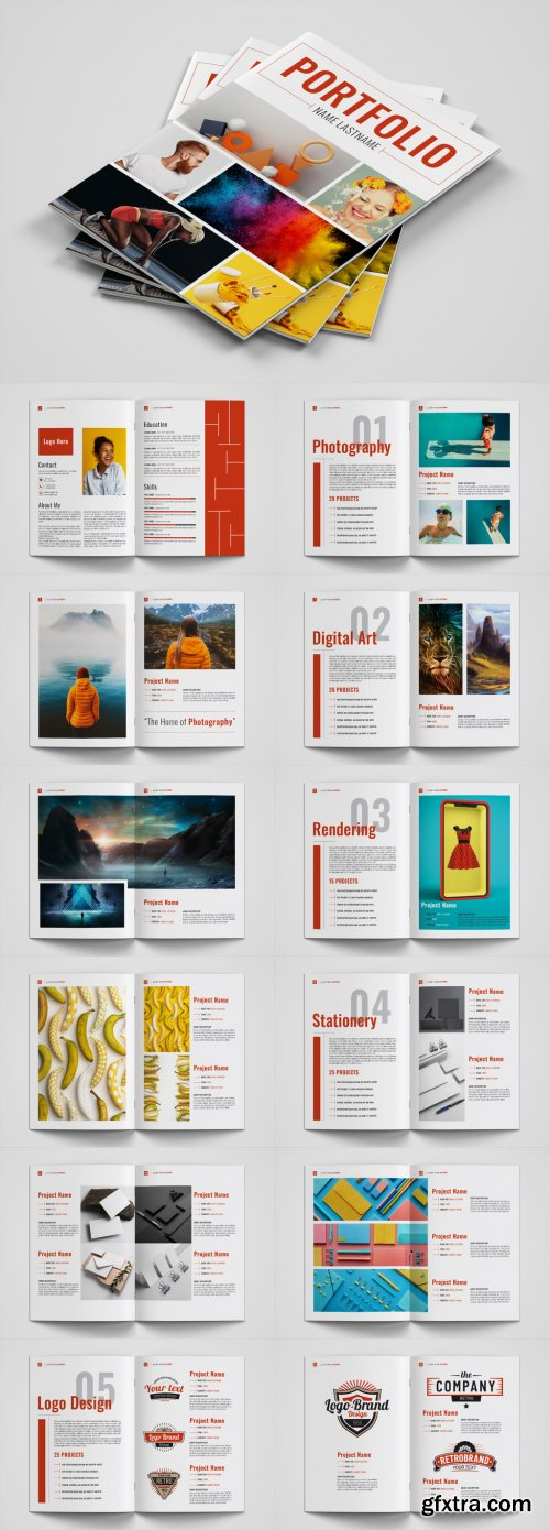 Graphic Design Portfolio Layout with Red Accents 322804128