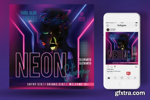 CreativeMarket - Neon Party Flyer 4553867