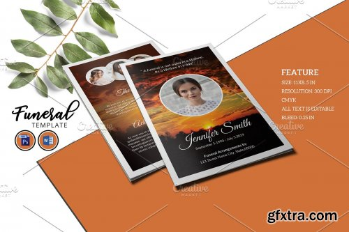 CreativeMarket - Funeral Program Template - V931 4230875