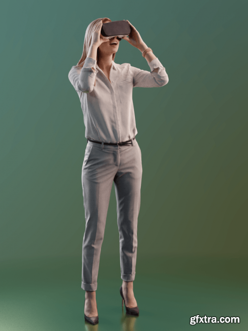 Young Woman using VR Headset 02 Scanned 3d model