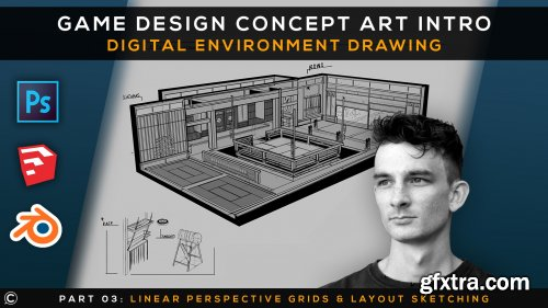 Game Design Concept Art Intro | Digital Environment Drawing | Part 3 | Persp. Grids & Layout Sketch
