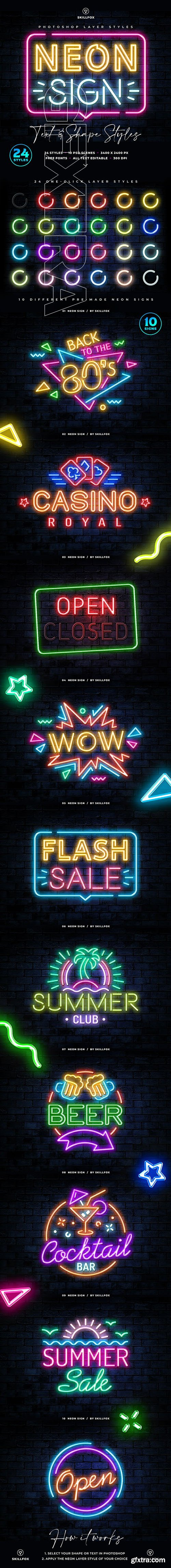 Graphicriver - Neon Sign Photoshop Styles 25832553