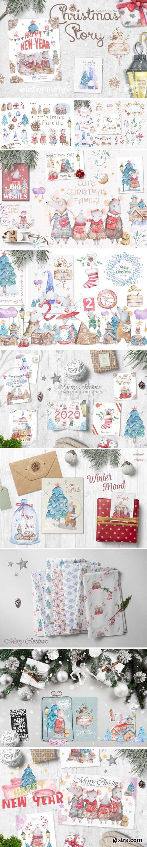 Christmas Story Watercolor Cute Rats 3038784