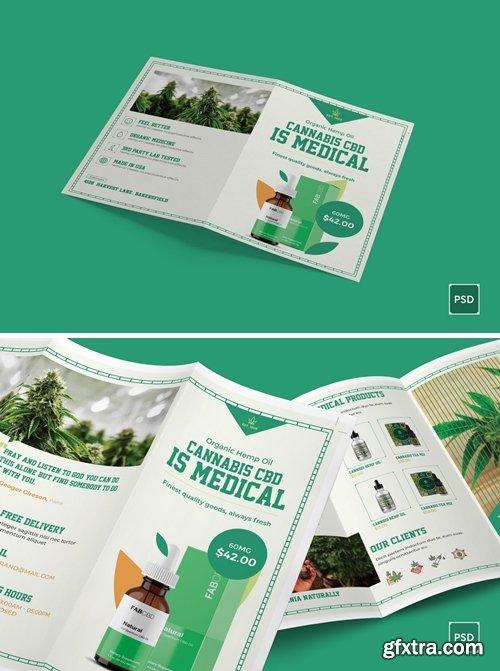 Cannabis Bi-Fold and Trifold Brochure PSD Template