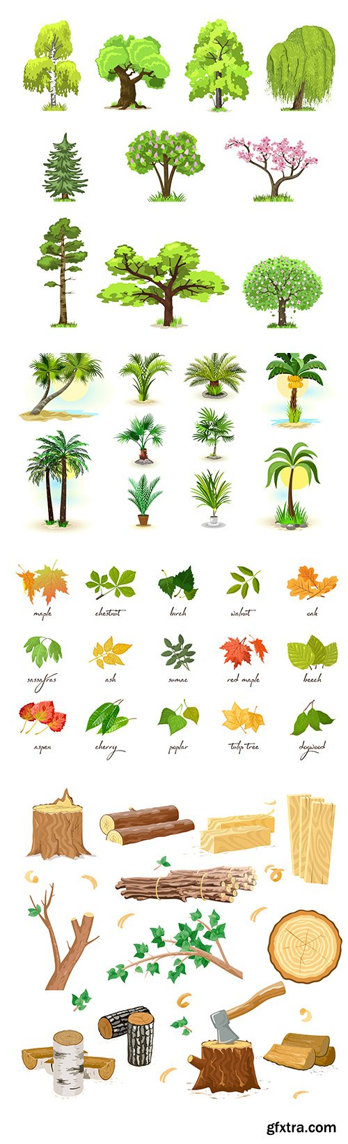 Wood Industry, Palm and Different Leaves Vector Set