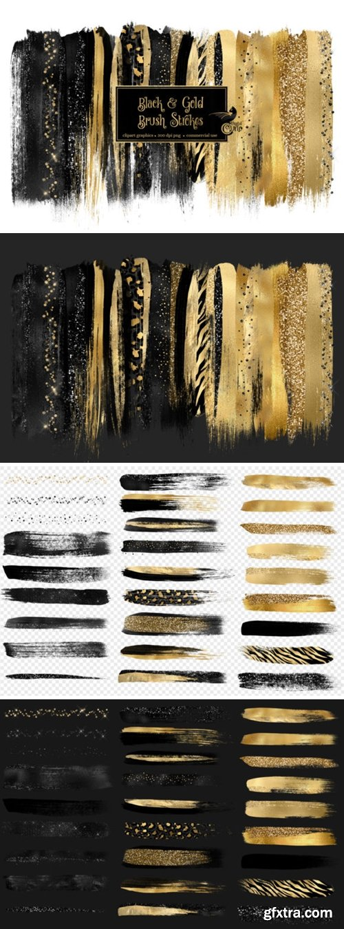 Black and Gold Brush Strokes Clipart 3558786