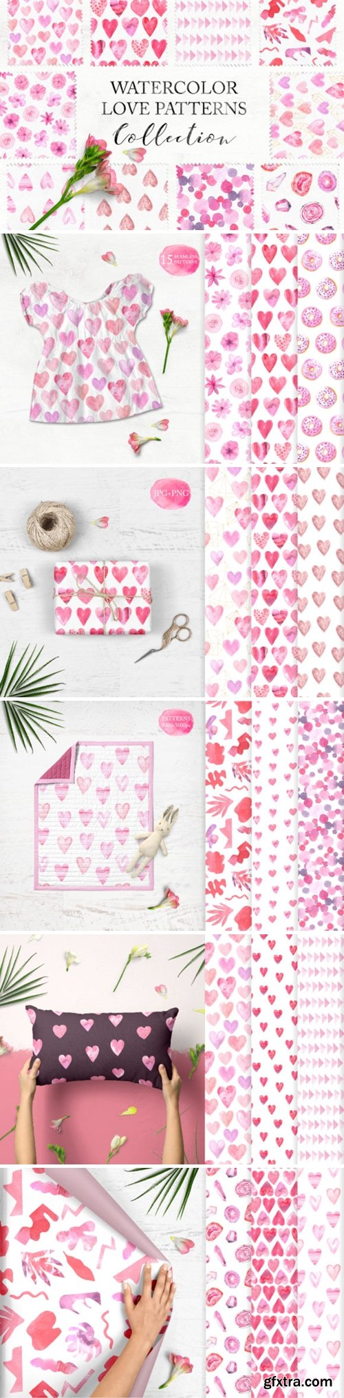 15 Watercolor Love Seamless Patterns 3546394