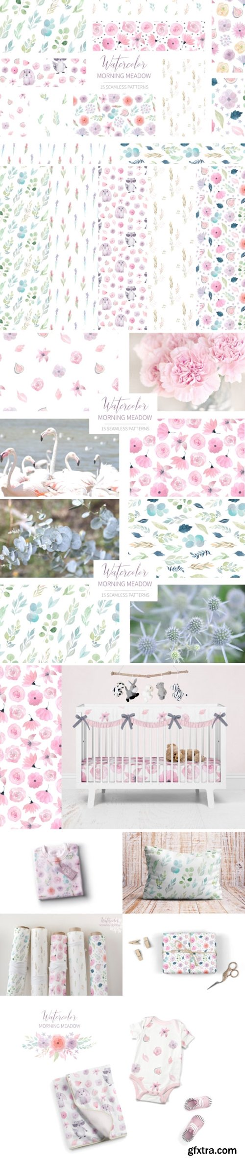 15 Morning Meadow Seamless Patterns 3515014