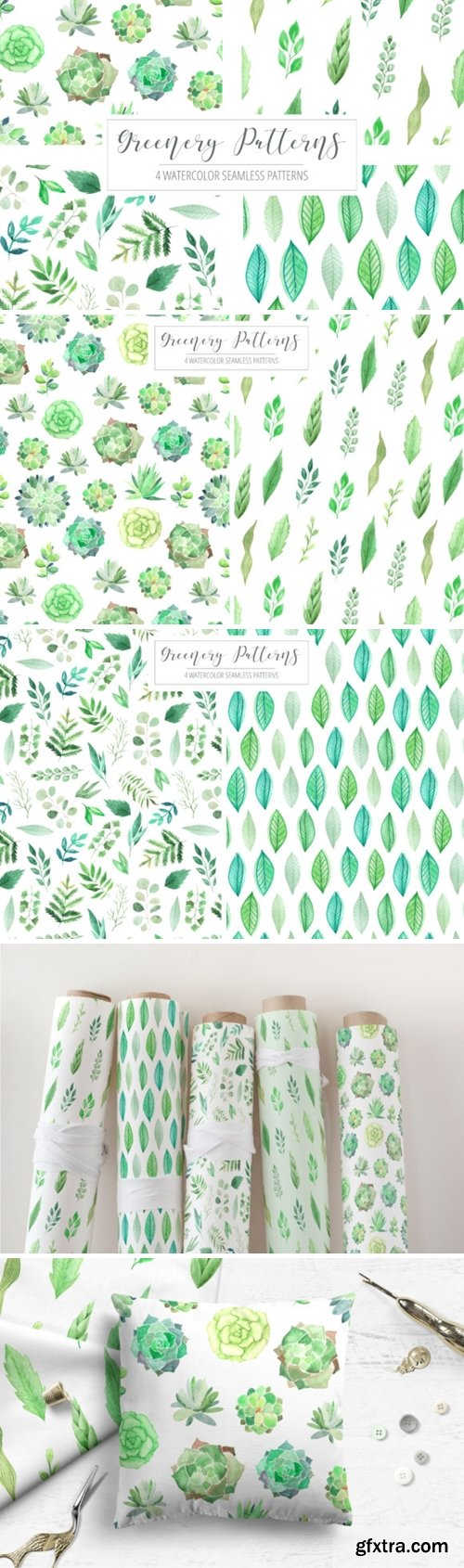 4 Watercolor Greenery Patterns 3515027