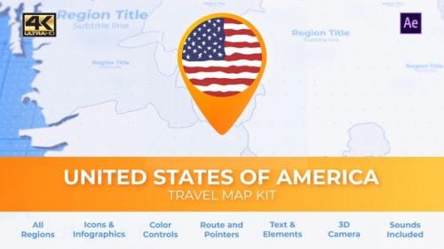 Videohive - Travel Map USA - United States of America