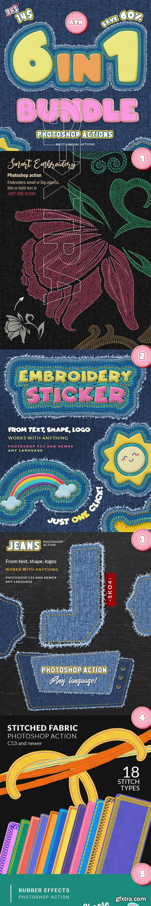 GraphicRiver - Stitch & Embroidery Actions Bundle 25972982