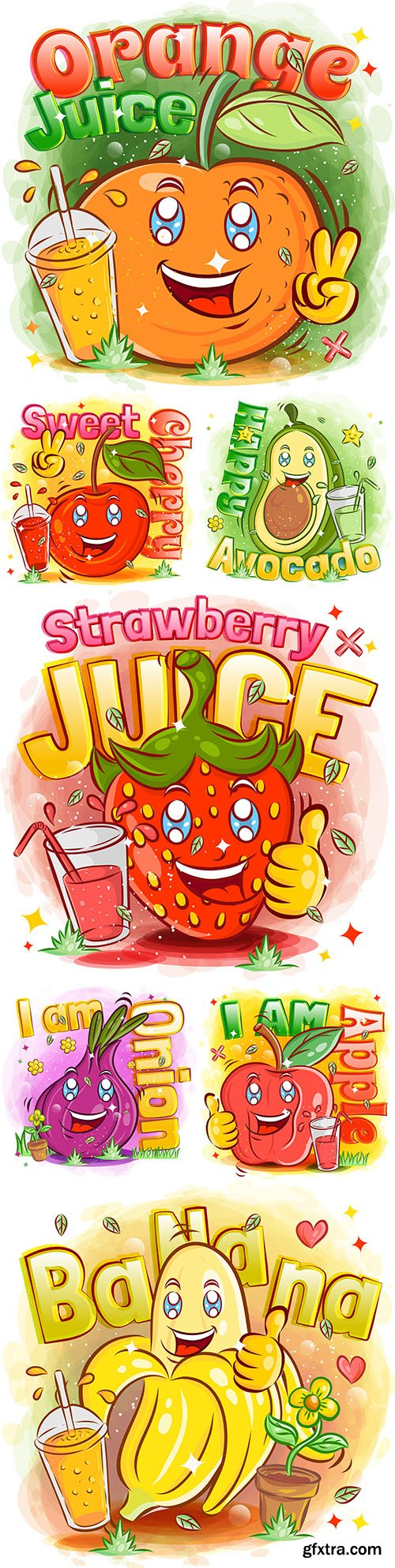 Nice fruits and berries bright funny illustrations