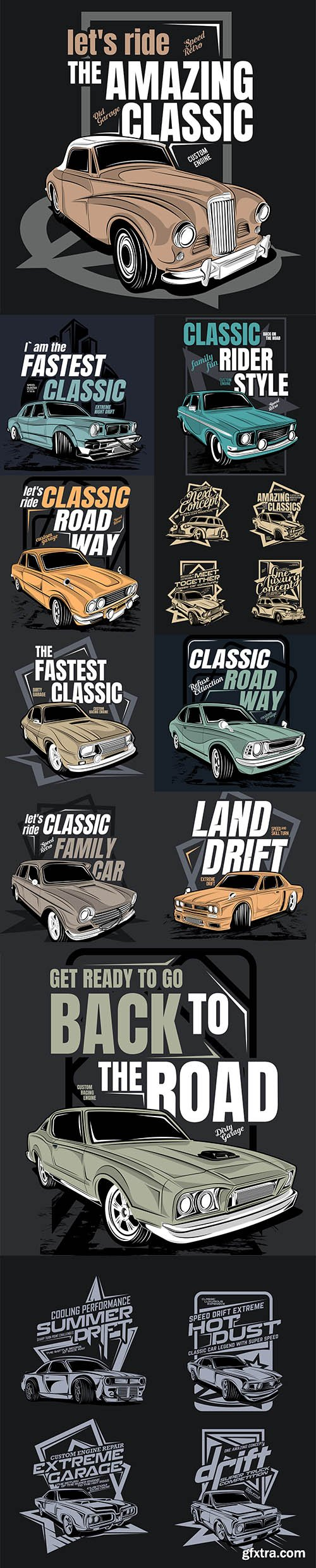 Vintage Illustration with Classic Car