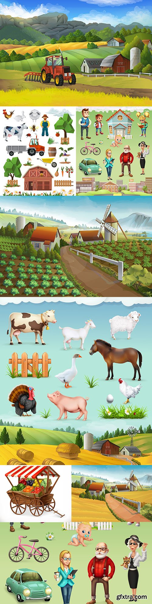 Farm and animal rural landscape vector illustrations
