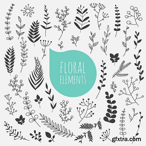 Floral Elements Collection with Spring Flowers