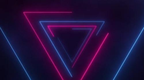 Videohive - Retro Neon Triangles Loop