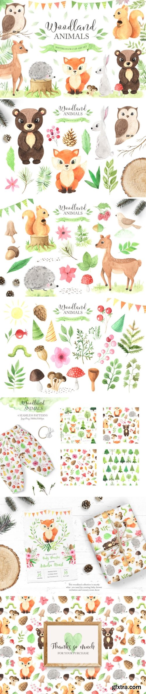 Watercolor Woodland Animals Set 3664097