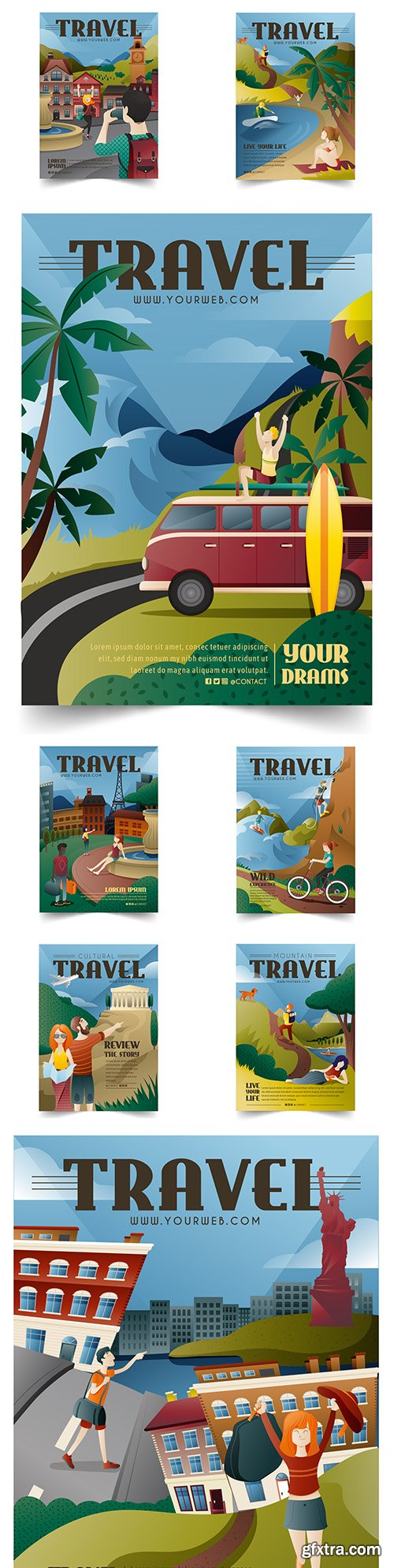 Illustrated poster for lovers travel different attractions