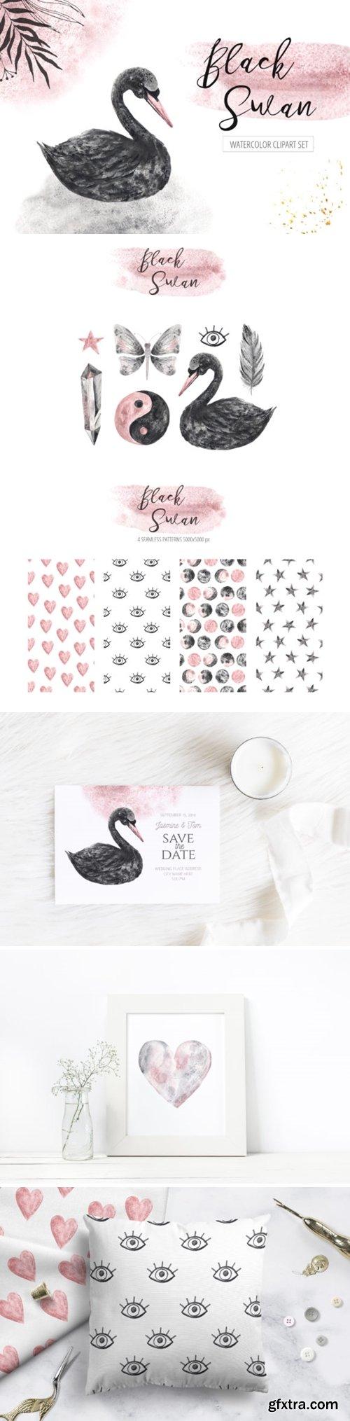 Watercolor Black Swan Set 3670731