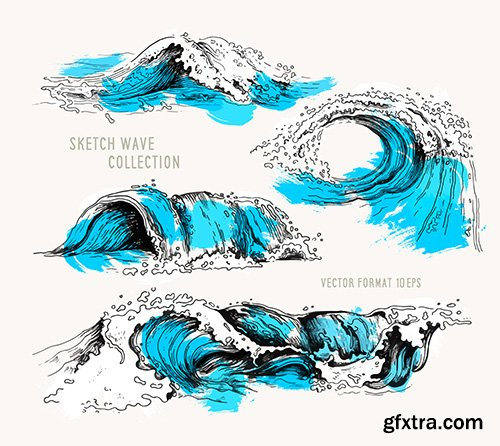 Sketch Ocean Waves Collection