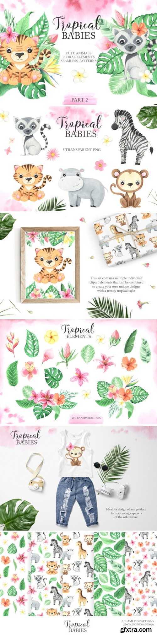 Watercolor Tropical Babies Set 2 3673153