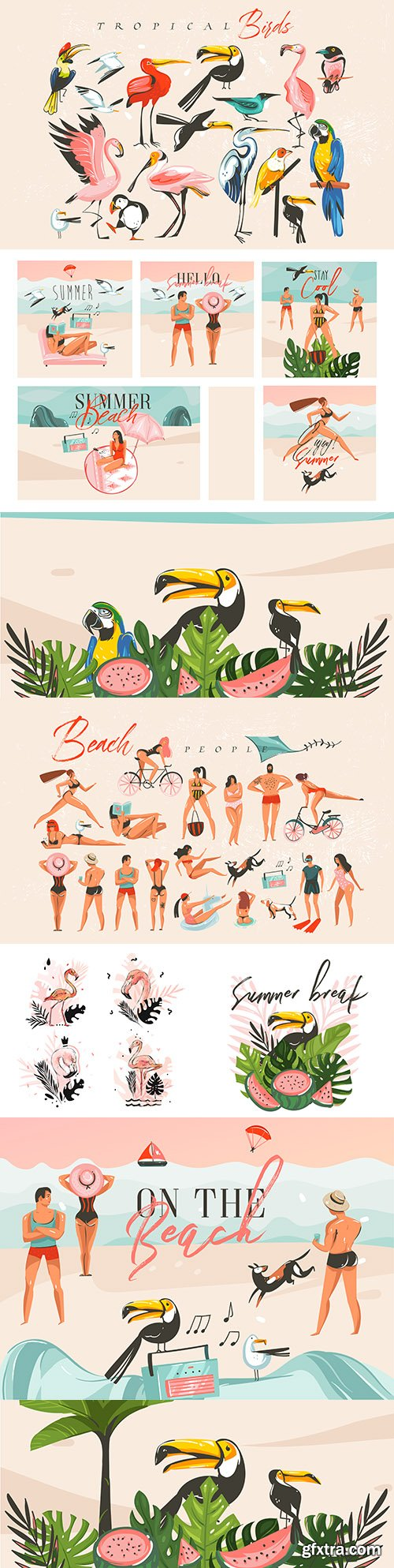 Summer beach, people on holiday and exotic birds