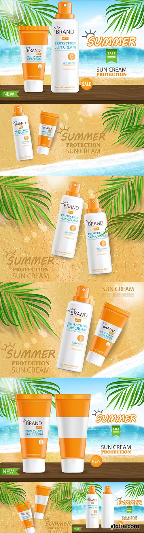 Sunscreen and tropical banner summer cosmetics