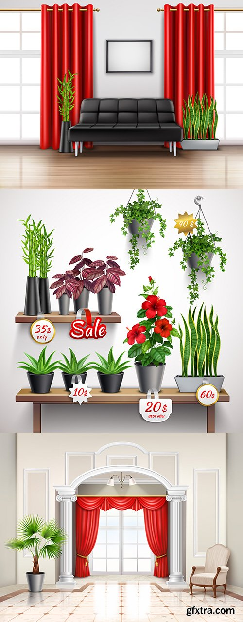 Realistic interior in classic style and shelf with room flowers