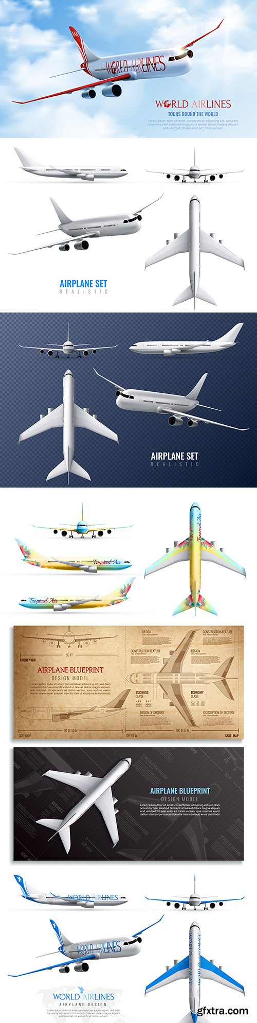 Aircraft set world airlines in various kinds of realistic
