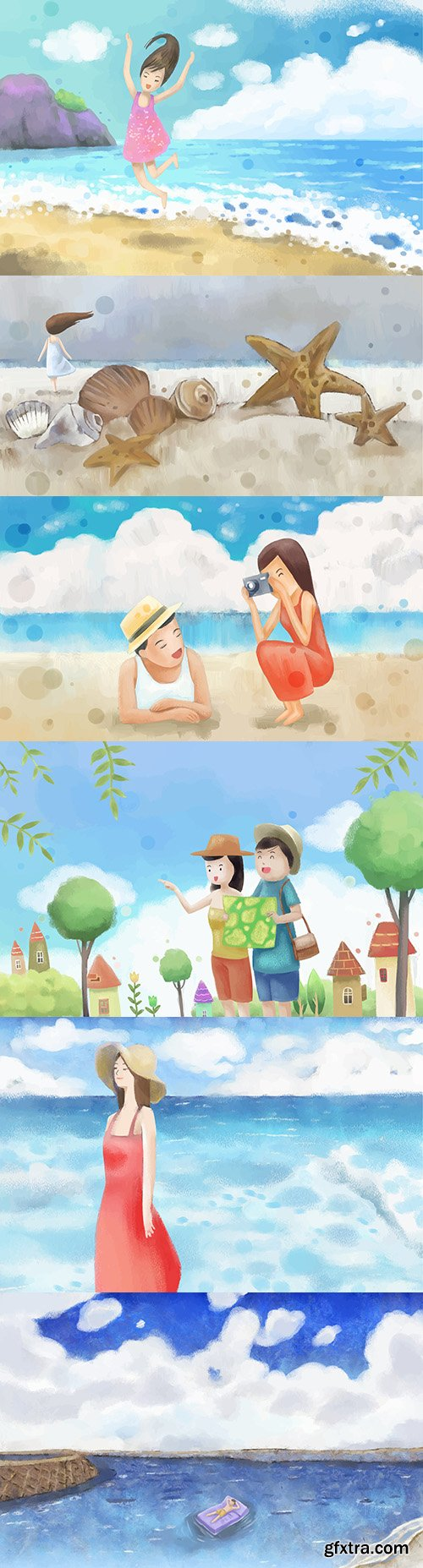 Summer holiday at sea watercolor background