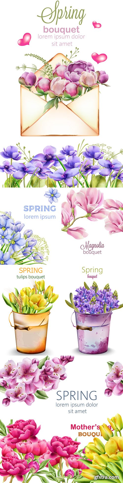 Spring bouquet watercolour flowers with green leaves 2