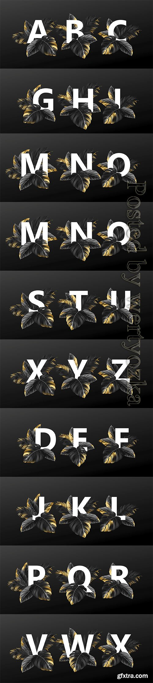 Alphabet letters in black with golden exotic tropical leaves of plants