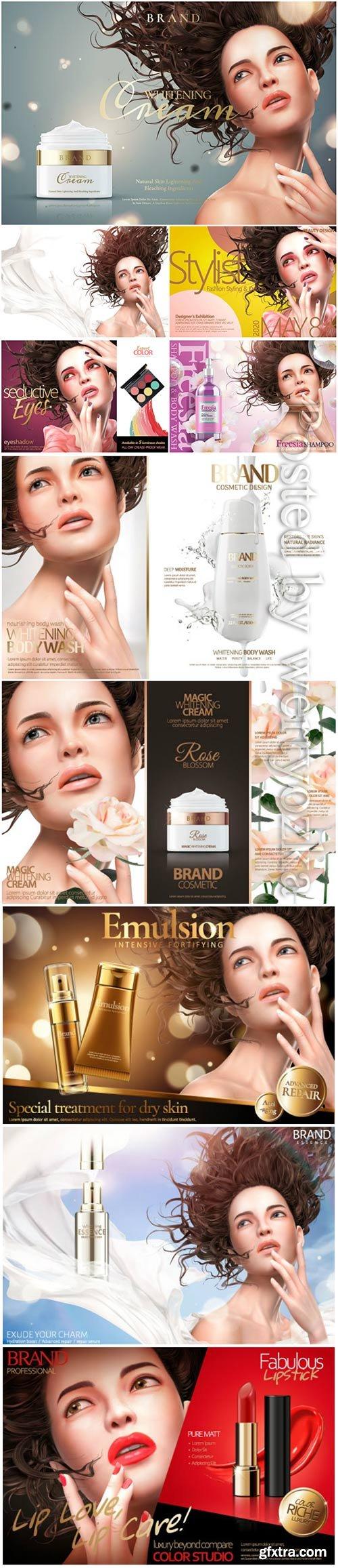 Cosmetics advertising posters, beautiful girl