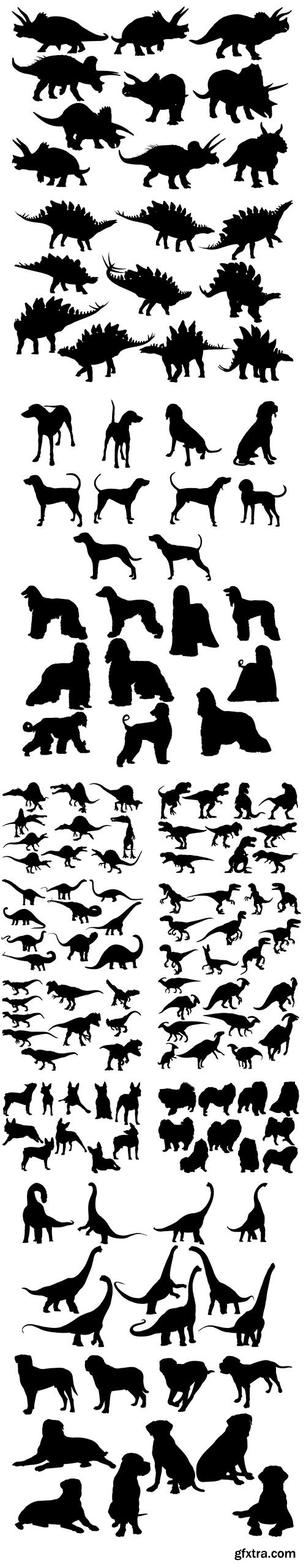Dinosaur and Dog Silhouette Collection
