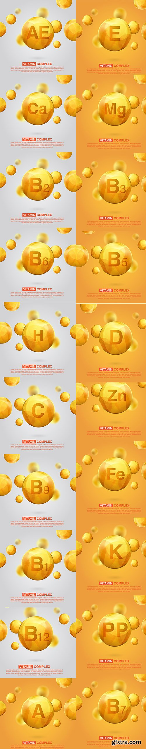 Collection of Gold Vitamin Pill Capsule Illustration