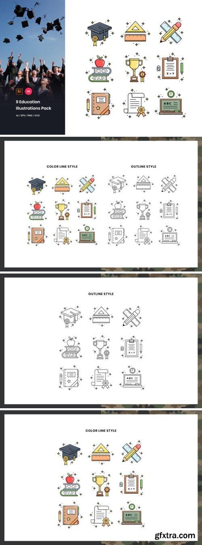 Stock Vector - 9 Education Illustrations Pack